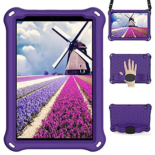 Lfdygcd Funda para Huawei MatePad T8, a Prueba de Golpes con Correa de Hombro y Soporte Cubierta Completa para Mediapad M5 Lite 8/ M6 8.4 Púrpura