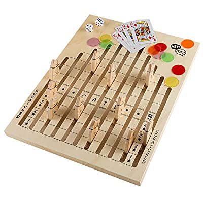 Hey! Play! Wooden Horse Race Game with Dice, Cards and Chips – Indoor and Outdoor Board Games for Adults, Kids, Boys and Girls Party Game (80-DDH)