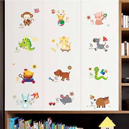 VIOYO chinese sterrenbeelden muur stickers voor kinderen kamers schakelen raam home decor cartoon dieren muur stickers pvc muurschildering art diy poster