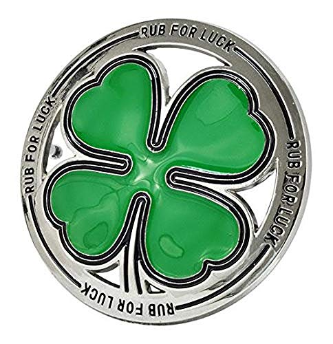 Mens RUB FOR LUCK Belt Buckle - Shamrock Lucky Four Leaf Clover Irish Belt Buckle Fits Belts Up to 1.5 Inches Wide
