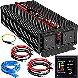 Inversor de potencia de onda sinusoidal pura,2000 W,24 V CC a 230V/240V,convertidor de corriente alterna 2 salidas de CA inversor de coche con un puerto mando a distancia de y dos ventiladores