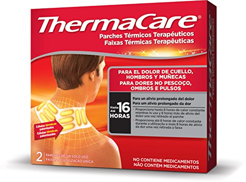 THERMACARE Parche Térmico Terapéutico - 2 parches - Para El Dolor de Cuello, Hombro y Muñeca - Alivio Prolongado del Dolor Hasta 16 Horas - Sin Medicamentos