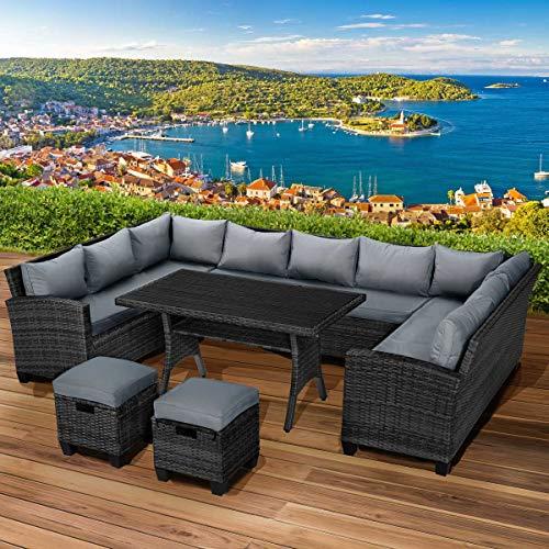 BRAST Poly-Rattan Sitzgarnitur Sofa Essgruppen-Kombi Family 11 Personen Schwarz/Grau Garten Lounge Sitzgruppe Gartenmöbel
