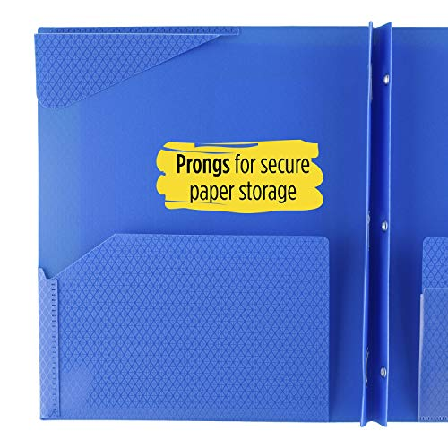 """Five Star 2-Pocket Folder, Stay-Put Folder, Plastic Colored Folders with Pockets & Prong Fasteners for 3-Ring Binders, For Home School Supplies & Home Office, 11"""" x 8-1/2"""", Blue (72115) Photo #7"""