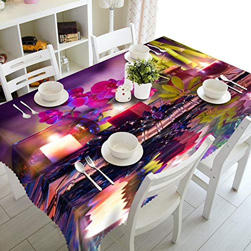 Customizable 3D Tablecloth Candlelight Dinner Pattern Washable Cloth Thicken Rectangular and Round Table Cloth for Wedding-A_70 X 150cm