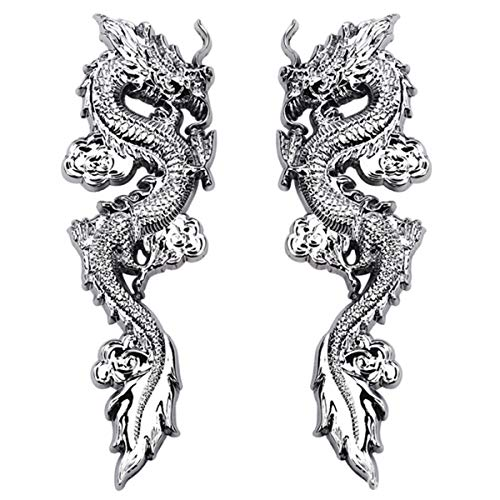 Teemous Dragon Labeling Car Accessories Personalized Modification General Car Logo 3D Three-dimensional Metal Car Labeling Creative Decoration Myth Story Emperor Two Dragons TotemCar Logo (Silve)