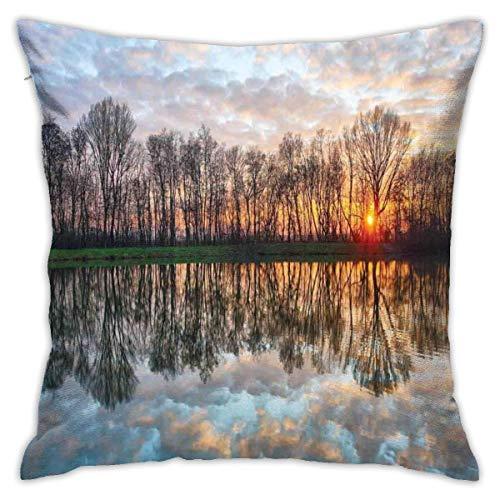 """Moderna funda de cojín para cojín, puesta de sol mágica en el lago con el espejo de agua cristalina y foto de Boho de horizonte sobre el bosque, funda de almohada decorativa cuadrada decorativa, 18 """"x"""