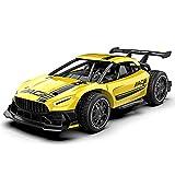 Yoizurr Coche teledirigido de 2,4 GHz, escala de simulación de carrera de metal, escala 1:24, coche de juguete, adecuado para niños y adultos, color amarillo