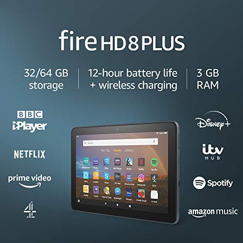 "Fire HD 8 Plus tablet, 8"" HD display, 32 GB, Slate - with Ads, Our best 8"" tablet for portable entertainment"