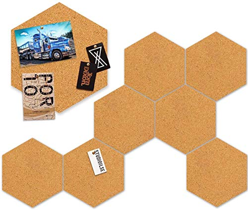 Corksidol Hexagon Cork Board Tiles 8 Pack with Full Sticky Back- Mini Wall Bulletin Boards, Pin Board-Decoration for Home Office Classroom Wall (7.9 x 6.85 inch)