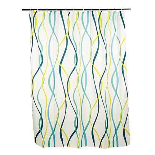 Smartfox Duschvorhang Motiv buntes Wellenmuster, 240x200 cm, 12 Ösen inkl. 12 Kunststoffringen