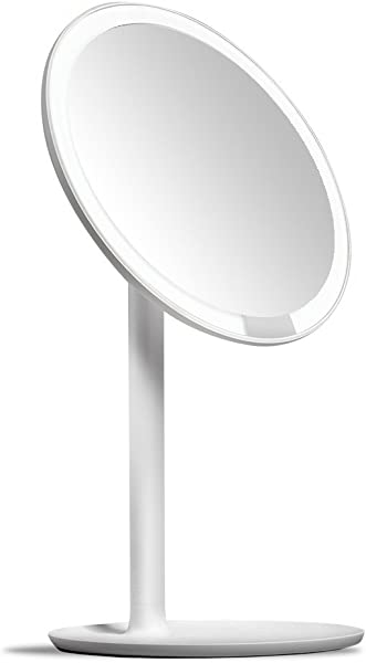 Amiro Lighted Makeup Mirror With Natural Daylight LED Lights Adjustable Brightness Rechargeable And Cordless High Definition Countertop Vanity Mirror No Magnification