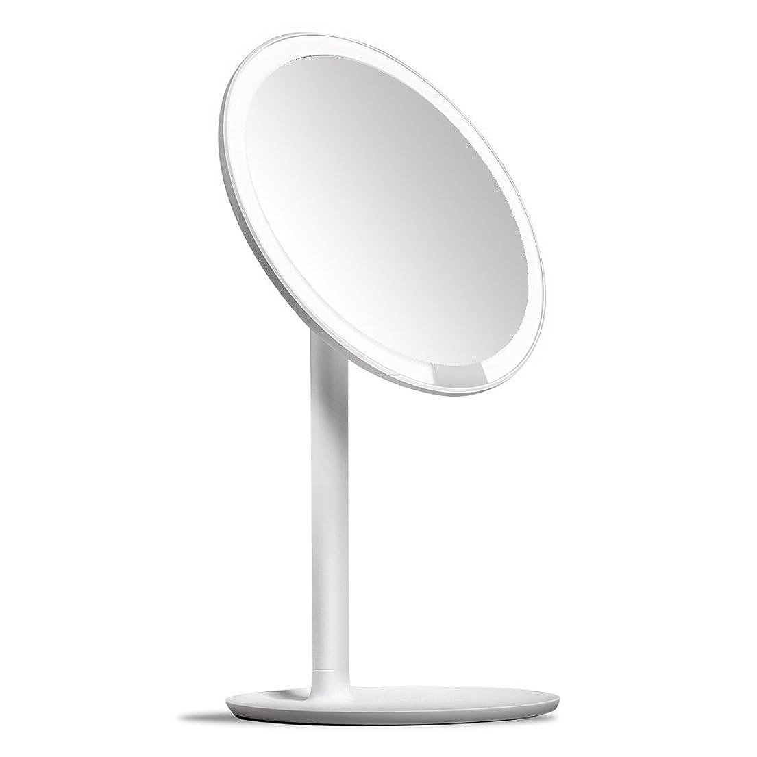 疲労振動させる急速なAMIRO 化粧鏡 化粧ミラー LEDライト付き 卓上鏡 女優ミラー 3段階明るさ調節可能 コードレス 充電式