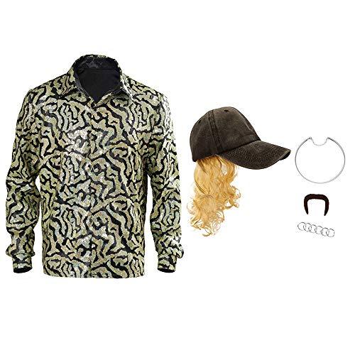 AJoe exótico tigre rey botón camisa, Halloween amarillo azul lentejuelas Cosplay sombrero peluca hombres conjunto completo Halloween Cosplay camisas sombrero peluca accesorios