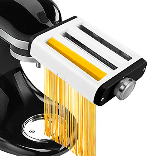 3 In 1 Pasta Maker Attachment for Kitchenaid Mixer, Professional Pasta Attachment Includes Pasta Roller, Spaghetti Cutter, Fettuccine Cutter Processing 3 Functions in 1 Machine-Ideal Thanksgiving Gift