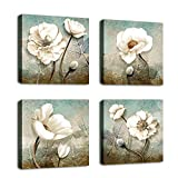 Abstract Flowers Wall Art Modern White Blossom Canvas Pictures Artwork Blue Grey Contemporary Wall Art for Bedroom Living Room Bathroom Decoration Framed Ready to Hang 12' x 12' x 4 Pieces