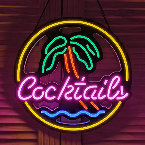 Ultrathin LED Neon Sign Art Wall Lights for Beer Bar Club Bedroom Windows Glass Hotel Pub Cafe Wedding Birthday Party Gifts (Cocktails & Palm)