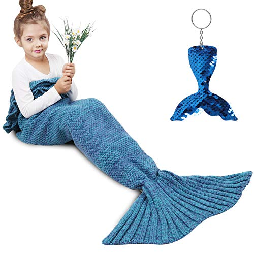Amyhomie Meerjungfrauenschwanz-Decke, Meerjungfrauenschwanz-Decke, für Erwachsene, gehäkelt, für Kinder, Blue With Ruffles, Kinder
