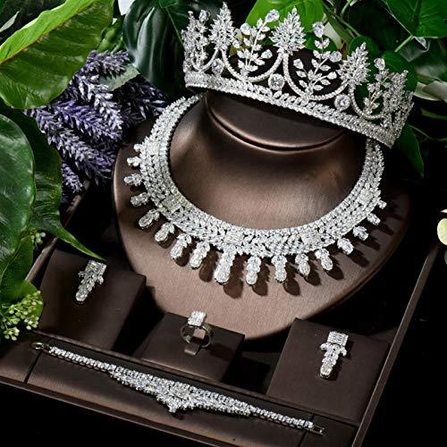 SLFDXDP Conjuntos de Joyas Accesorios para el Cabello de la Dama de Honor Tiara Conjuntos de joyería de la Corona al por Mayor Shiny CZ Collar Pendientes Pendiente (Color : White Color)