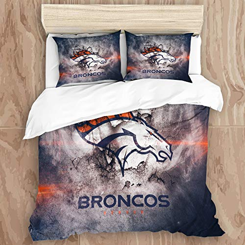 SKAERGI Amandasgqz Bedding Sets Bedspread, Denver Br-on-cos Logo 3D Print 6Decorative Quilted 3 Piece Coverlet Set with 2 Pillow Shams, Kings Size