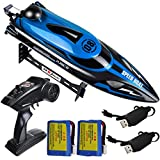 HONGXUNJIE 2.4Ghz High Speed RC Boat-HJ808 18mph Remote Control Racing Boat for Kids and Adults for Lakes and Pools with Double Batteries Double Charger Cables (Blue)
