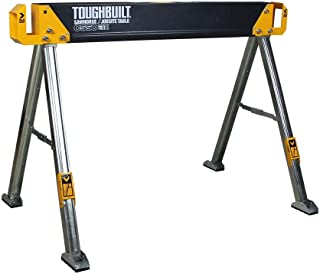 ToughBuilt - Folding Sawhorse/Jobsite Table - Sturdy, Durable, Lightweight, Heavy-Duty, 100% High Grade Steel, 41.5-Inch, Easy Carry Handle (TB-C550)