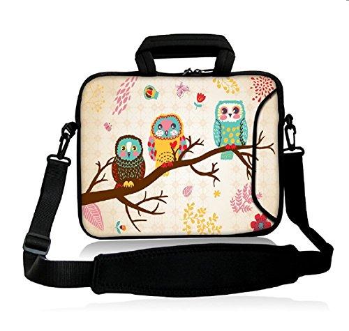 icolor 15' Laptop Bag Case Sleeve 14.1' 14.2' 15.6' Inch Neoprene Laptop Shoulder Messenger Bag 15.4' Notebook Computer Dual Zipper Case Cover Pouch Holder Pocket-OWL