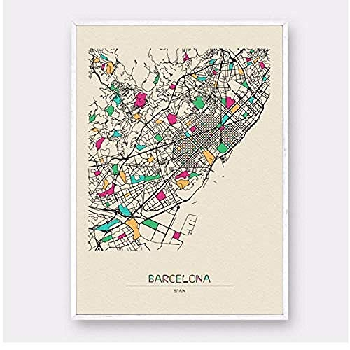 Canvas print,Decoraties schilderij print Spanje kleurrijke City Map Canvas Poster Home Wall Decor-40x60cm