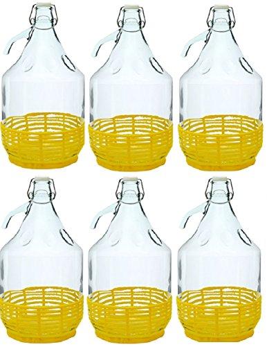 BDP5D, 6 x Damigiana, fiasco, bottiglie di vetro, da 5 l, con chiusura a pressione