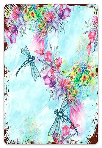 DECISAIYA Vendimia Cartel de Chapa metálica acuarela botella de perfume flores pintura splash libélula rama de flor floral Fragancia de flores Trendy blue vintage butterfly Placa Póster 20x30cm