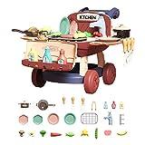 Giocattolo Barbecue per Bambini Griglie Barbecue 25 Pezzi, Arrostire Cibo con Suono, Luce e Rubinetto dell'Acqua, per Bambini 3 4 5 6 7 8 9 Anni, 27 x 39 x 44 cm, Rosso