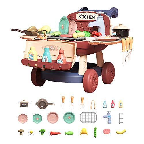 Juguetes Barbacoa Niños Cocinitas 25PCS Juguetes Asar Alimentos con Sonido Luz y Grifo de Agua, para Niños de 3 4 5 6 7 8 9 Años,27x39x44cm Rojo