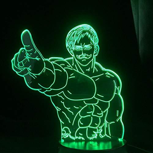 The Seven Deadly Sins Escanor Led Luz Noturna para a decoração do quarto Mood Luz Anime lâmpada 3D The Seven Deadly Sins Escanor-With_Remote