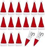 Hapy Shop 30Pcs Christmas Santa Hat Silverware Holders Tableware Knife Fork Spoon Storage Bag Xmas Party Dinner Table Decoration Supplies