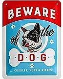 Nostalgic-Art Cartel de chapa retro Beware of the Dog ...Kisses – Idea de regalo para dueños de perros, metálico, Diseño vintage, 15 x 20 cm
