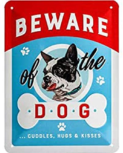 Nostalgic-Art Beware of the Dog.Kisses – Geschenk-Idee für Hunde-Liebhaber Retro Blechschild, aus Metall, Vintage-Design zur Dekoration, 15 x 20 cm