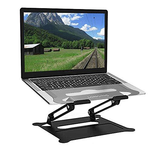 Soporte para Portátil, LONGING Soporte plegable de aluminio para Lenovo DELL HP Samsung MacBook iPad Laptop Tabletas Laptop Portátil ordenador portátil de hasta 17', Negro
