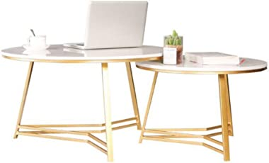 Modern Round Nesting Tables,Set of 2 Living Room Coffee Table Combination,Marble End Tables,Metal Iron Base,Office,White/Gold,65/80cm