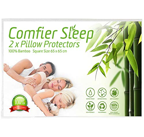 Comfier Sleep Waterproof Pillow Protectors with Zip Anti Allergy and 100% bamboo Pack of 2 Square Size (65x65cm) suitable Pillows