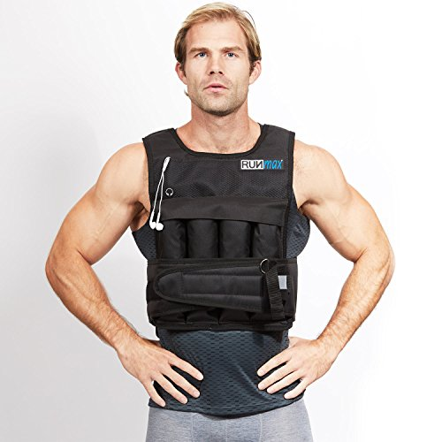 RUNmax rf20nop Run Fast 12lb-140lb Weighted Vest (Without Shoulder Pads, 20lb)