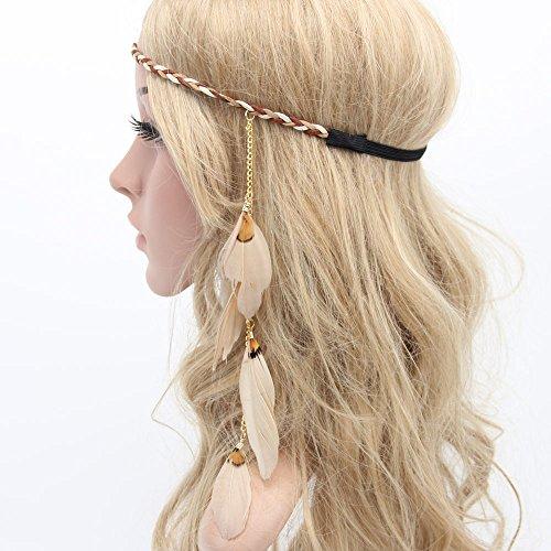 MANDI HOME Women Boho Style Festival Feather Headband Hippie Weave Hairband (Beige)