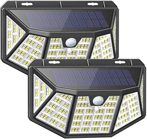 Lampe Solaire Extérieur 2Pcs 212LED Lumière Solaire Exterieur Étanche Solaire avec Détecteur de Mouvement et Éclairage à 5 côtés à 270° pour Jardin Terrasse Garage etc.