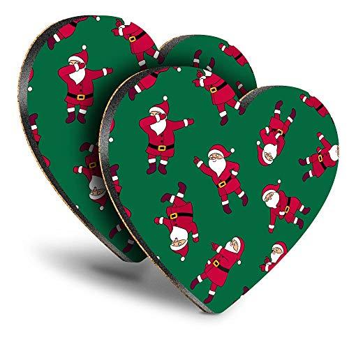 Destination Vinyl ltd Great Posavasos (juego de 2) Corazón – NY Dancing Santa Clause Navidad bebida brillante posavasos / protección de mesa para cualquier tipo de mesa #45096