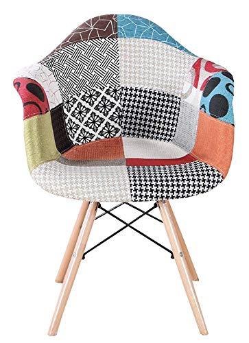 2er Set Mehrfarbig Patchwork Sessel mit Rückenlehne Weichkissen Retro Barstuhl Wohnzimmer Küchen Stuhl Esszimmer Sitz Holz Leinen (Rot)