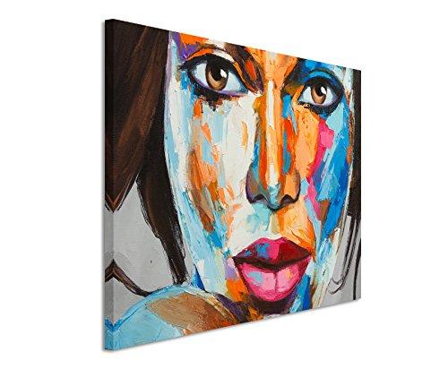 Paul Sinus Art XXL Fotoleinwand 120x80cm Buntes modernes Ölgemälde – Frauenportrait auf Leinwand Exklusives Wandbild Moderne Fotografie für ihre Wand in vielen Größen