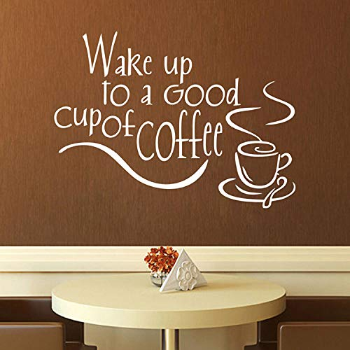 Wachen Sie mit einem Guten Kaffee auf Vinyl Wandaufkleber zitiert Küche Wandaufkleber Dekor für Küche Esszimmer Wohnkultur Aufkleber Aufkleber Wandbilder PVC-Material-35x25cm