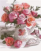 DIYデジタル絵画一杯の花Diyデジタル油絵壁画家の装飾アクリル画(フレームなし)40X50