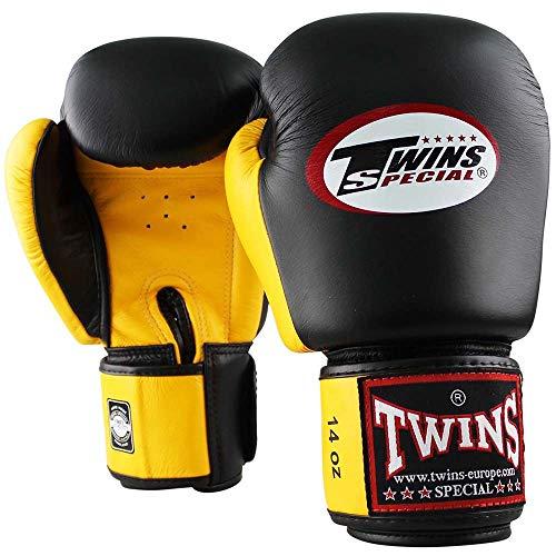 Twins Special Boxhandschuhe, Leder, BGVL-3, schwarz-gelb Größe 16 Oz