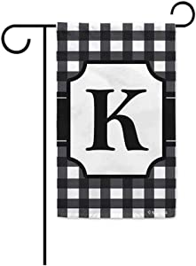 BAGEYOU Monogram Initial K Checkers Plaid Lattice Decorative Garden Flag for Outside Housewarming Gifts 12.5X18 Inch Printed Double Sided