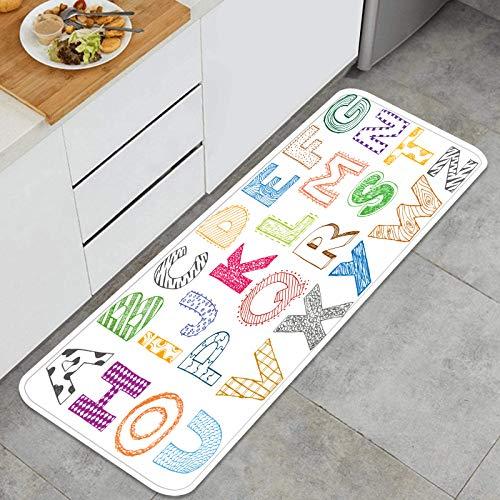 PUIO Juegos de alfombras de Cocina Multiusos,niños Dibujados a Mano niños Letra Alfabeto,Alfombrillas cómodas para Uso en el Piso de Cocina súper absorbentes y Antideslizantes